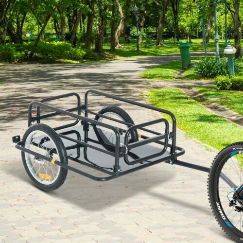 NO SHIPPING! Aosom Steel Frame Bicycle Bike Cargo Trailer Cart Carrier 110lb New