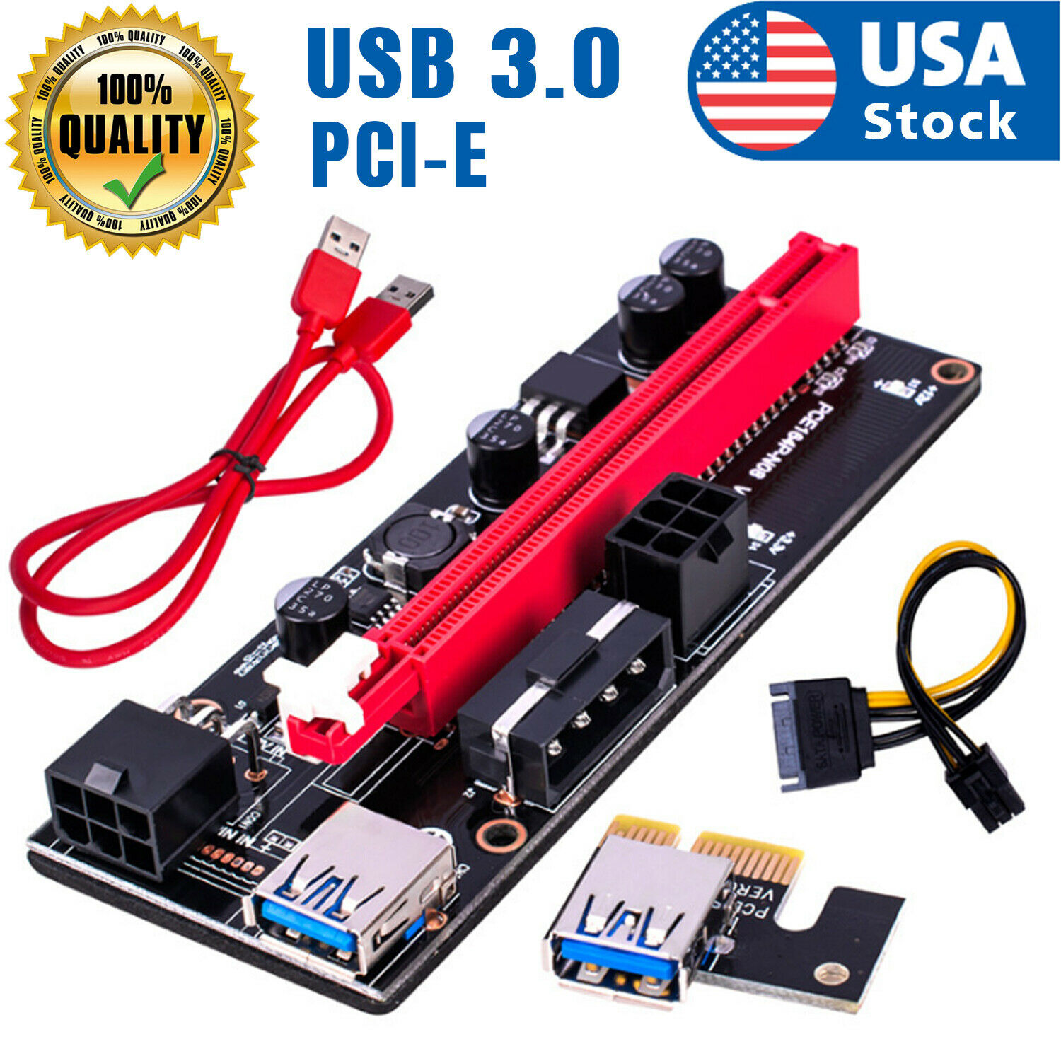 Ethereum PCI-E 1x to 16x Powered USB3.0 GPU Riser Extender Adapter Card VER 009s Computer Cables & Connectors