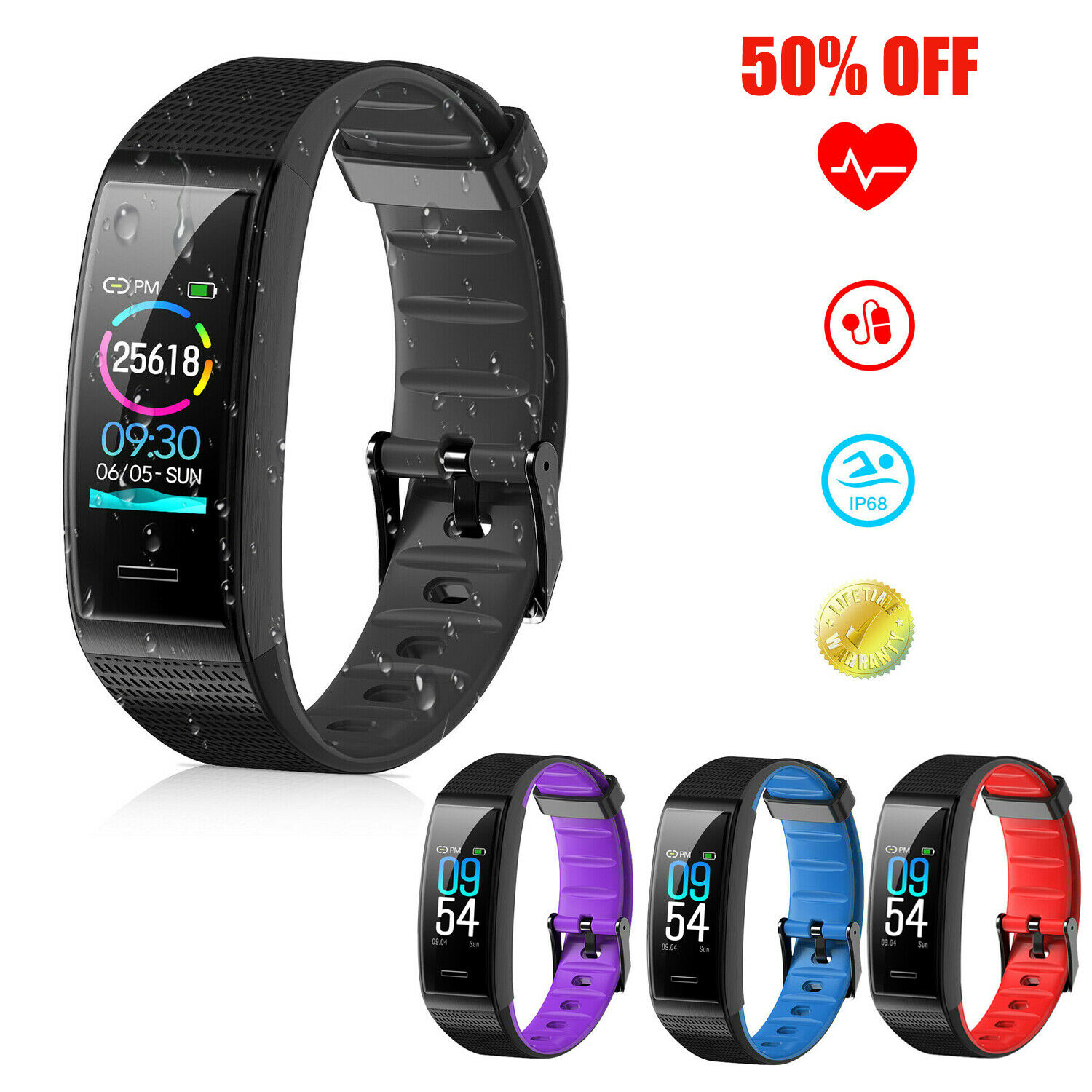Fitness Tracker Smart Wristband Sport Watch Pedometer Calori