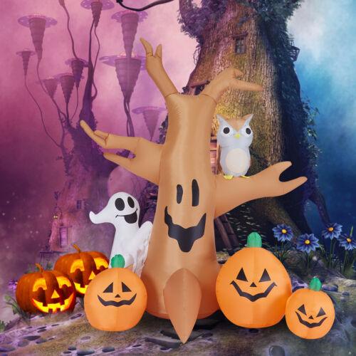 8ftHalloween Air Blown Inflatable Dead Tree Owl Ghost Pumpkin Yard Party Decor