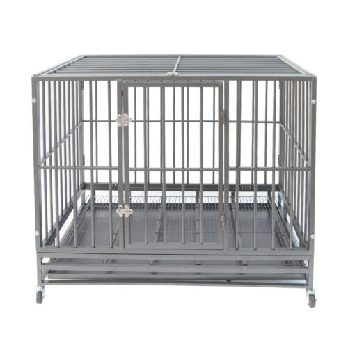 """42"""" Gray Heavy Duty Dog Cage Strong Metal Crate Kennel Playpen w/ Wheels&Tray"""
