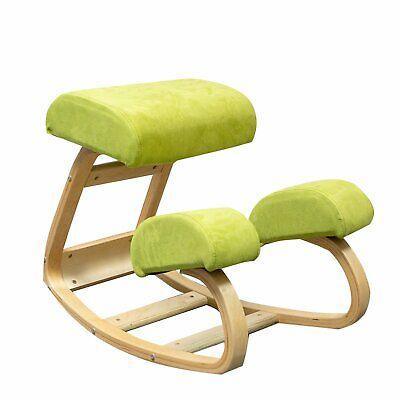 Kneeling Chair Rocking Kneel Stool Padded Seat Ergonomic Wood Frame Desk Chairs
