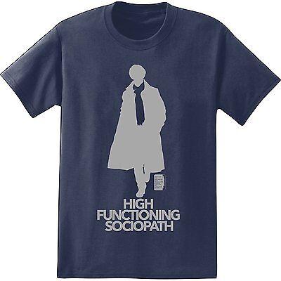 Bbc Sherlock High Functioning Sociopath Navy Mens T Shirt New