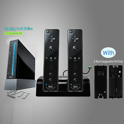 For Nintendo WII Remote Controller Charger Charging Dock Station +2 Batteries UK