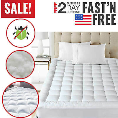Full Pillow Top - Full Size Mattress Pad Cover Pillow Top Topper Bed Breathable Hypoallergenic New