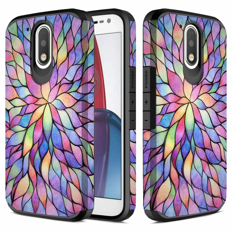 RANZ Motorola Moto G4/G4 Plus Colorful Flower Dual Layer Sho