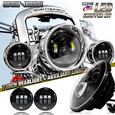 """7"""" Black LED Projector Daymaker Headlight + Passing Lights For Harley Davidson"""