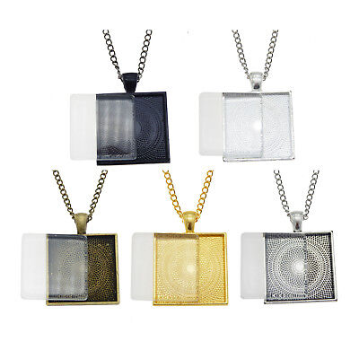 Metal Bezel Frame Square Shaped 25mm Glass Cabochon Necklace Pendant DIY (25 Mm Square Bezel)