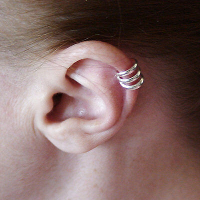 Spiral Cuff - Spiral Ear Cuff Earring - 925 Sterling Silver - No Piercing Clip On Climber NEW
