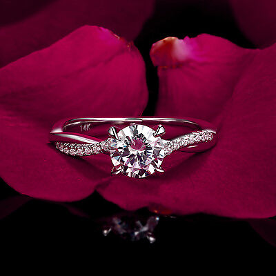 Ring - 14k White Gold 1.0 Ct Diamond Engagement/Wedding Ring Solitaire Round Cut