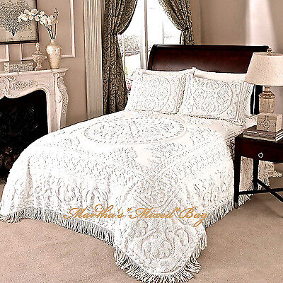 chenille bedspread ivory or white 100 percent