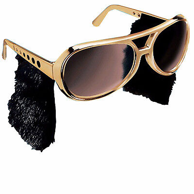 Elvis Presley Sunglasses With Sideburns Costume Gold King Of Rock Roll Las Vegas