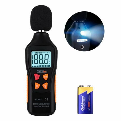 TACKLIFE Decibel Meter, Digital Sound Level Meter Range 30-130dBA, Max/Min/Hold