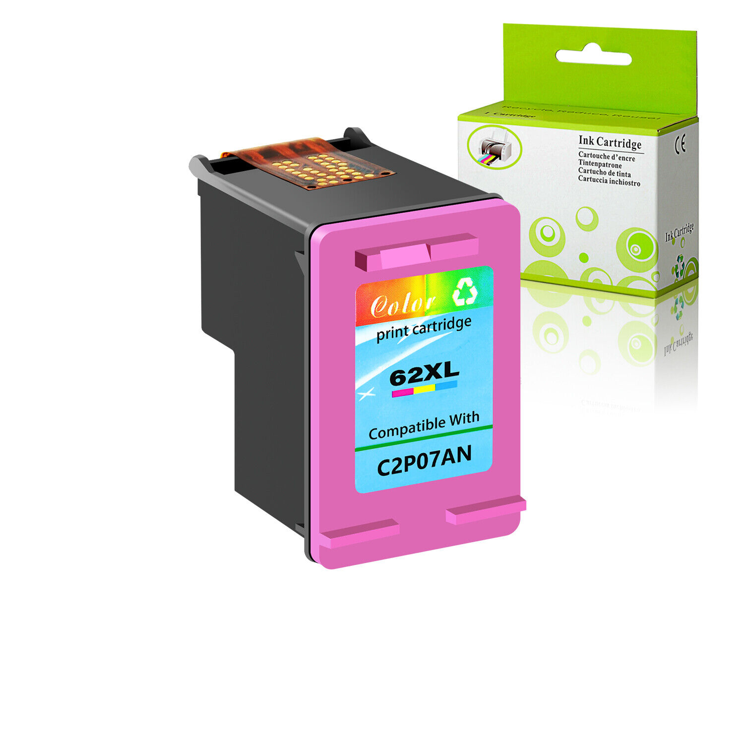 1pk Color 62xl 62 Xl Ink Cartridge For Hp Envy 7645 5548 All In One Printer Ebay