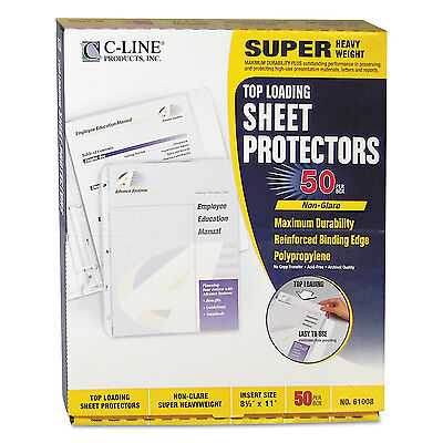 C-line Super Heavyweight Poly Sheet Protector Non-glare 2 11 X 8 12 50bx