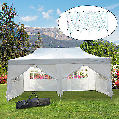 Outsunny® 3x6 m Faltpavillon Pavillon Faltzelt Partyzelt Gartenzelt Weiß Fenster