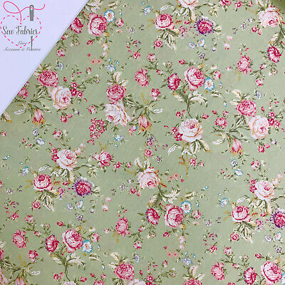 Rose and Hubble Green Floral Fabric 100% Cotton Vintage Poplin Flower Material S