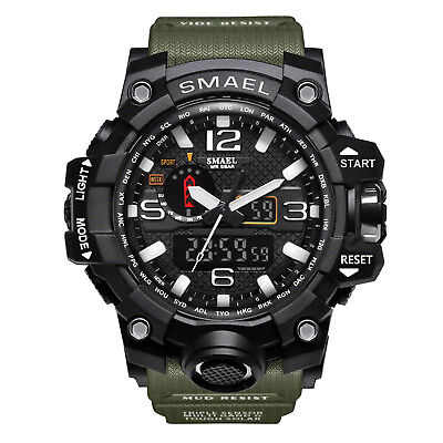- SMAEL Mens Sport Military Watch LED Dual Display Digital Electronic Wristwatches