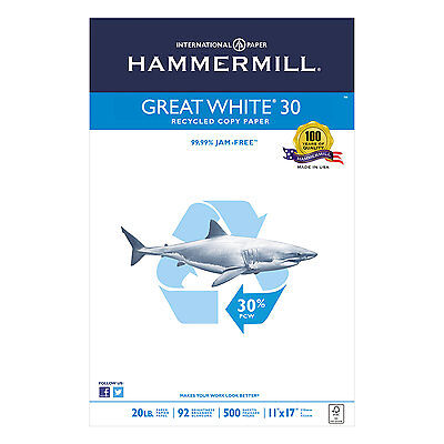 Hammermill Great White Recycled Copy Paper 92 Brightness 20lb 11 x 17 500 Sheets