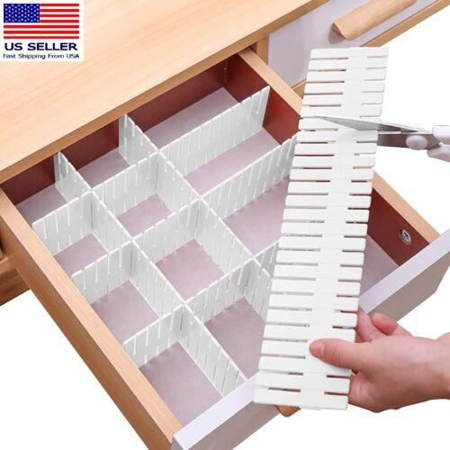 Drawer Divider 8pcs Adjustable DIY Storage Organizer Separator-Cut at Will White