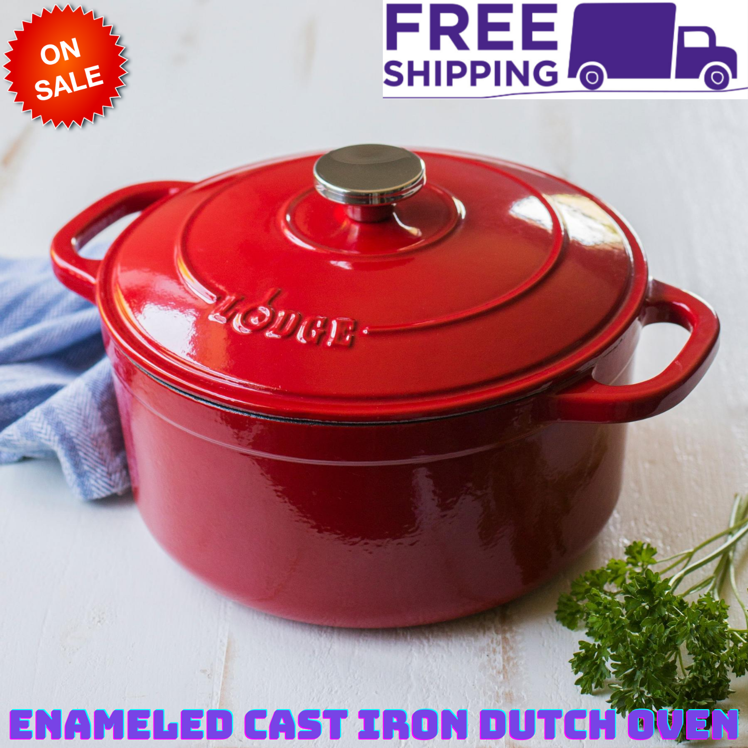 Lodge Enameled Kitchen Cooking Cookware Cast Iron 5.5 Quart