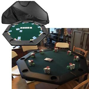 Poker Table Top Padded Deluxe Green Felt 8 Built In Cup Holders Bi Fold  Center