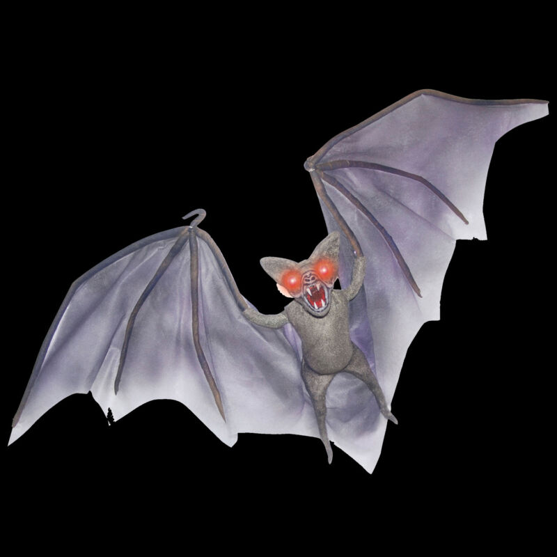 3-Ft Hanging LIGHT-UP DEMON VAMPIRE BAT Gothic Horror Halloween Prop Decoration