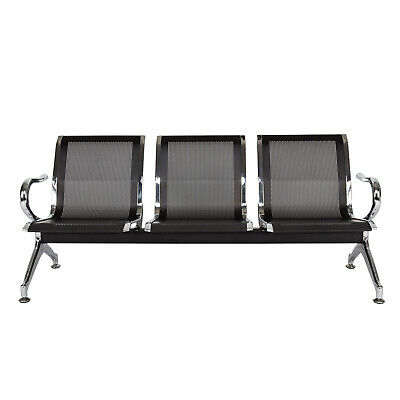 Waiting Room Chairs With Arms Reception Bench Airport Lobby Chairs 3-seat Black