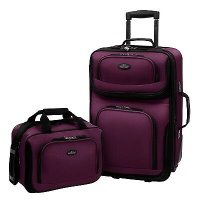Carry-on Rio Purple Rolling Lightweight Expandable Suitcase Tote Bag Luggage (Rolling Luggage Set)