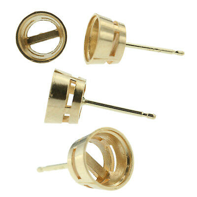 14k Yellow Gold Round Bezel Stud Earring Mounting Setting Push Back Post