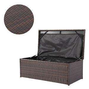 Wicker Outdoor Patio Garden Storage Bench Bin Deck Box Pool Toy Container Brown