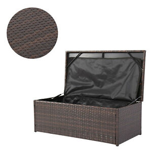 Wicker Outdoor Patio Garden Storage Bench Bin Deck Box Pool Toy Container  Brown
