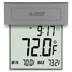306-605 La Crosse Technology Window Thermometer with Solar Powered Backlight