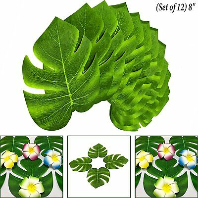Tropical Hawaiian Green Polyester Leaves Luau Moana Party Table Decorations Bulk (Luau Leaves)