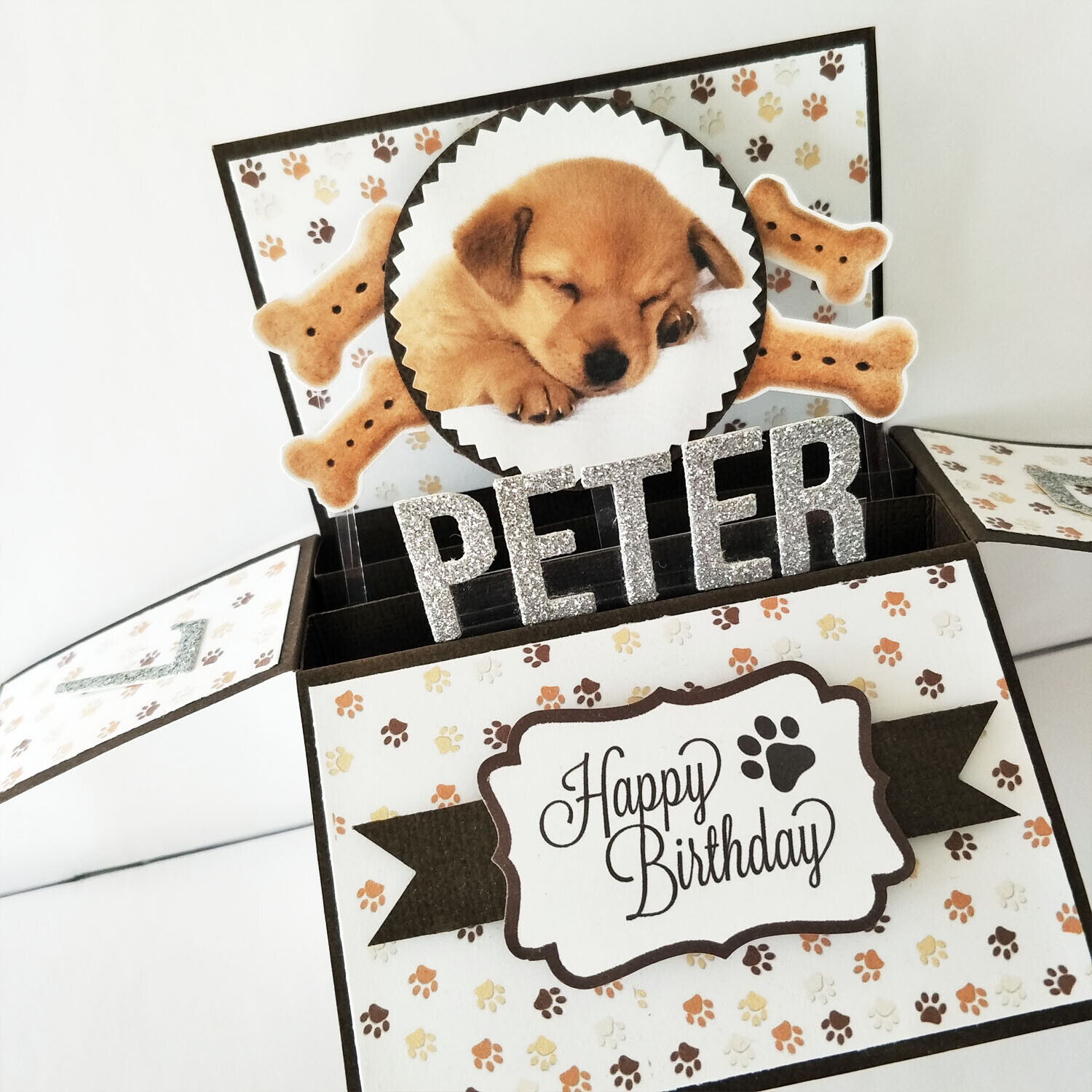 Handmade Name & Age Personalized birthday card, dog birthday card dog puppy card - Sleeping Dog