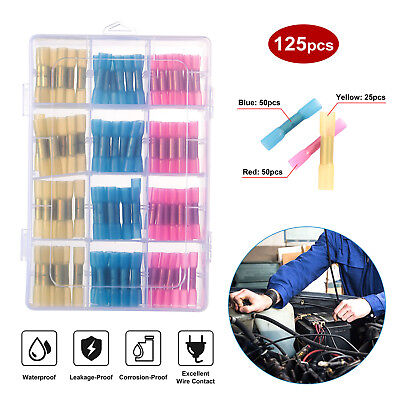 125pcs Waterproof Solder Seal Heat Shrink Butt Wire Connector Terminals Kits Us