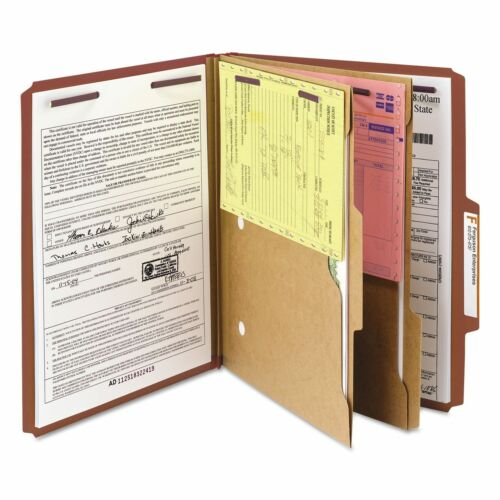 Smead 14079 Pressboard Folders with Two Pocket Dividers Letter Six-Section