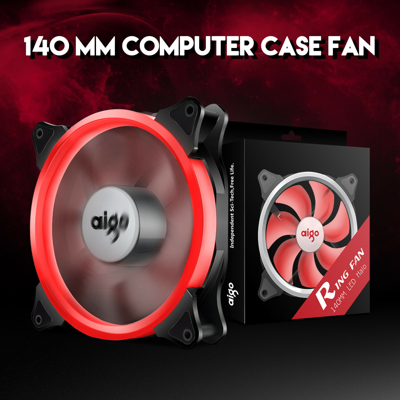 2pcs Aigo  Red Halo LED 140mm PC CPU Computer Case Cooling Neon Clear Fan Mod