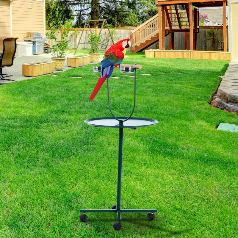 "49"" Bird Parrot Play Stand Cockatoo Gym Perch Metal Pet Feeder w/ Bowls Wheels"