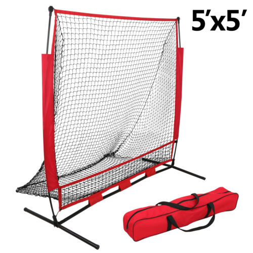 5'×5′ Commercial Grade Heavy Duty Baseball Practice Net + Pro-Style Batting Tee Baseball & Softball