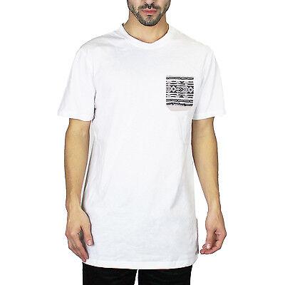 Men's Casual Crew Neck Short Sleeve T-Shirt Pocket Tee Shirt White Size L 215094