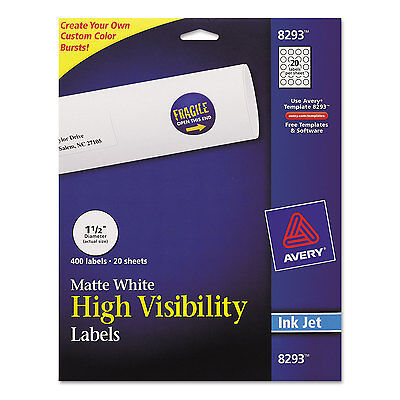 Avery Vibrant Color-printing Round Address Labels 1 12 Dia White 400pack 8293