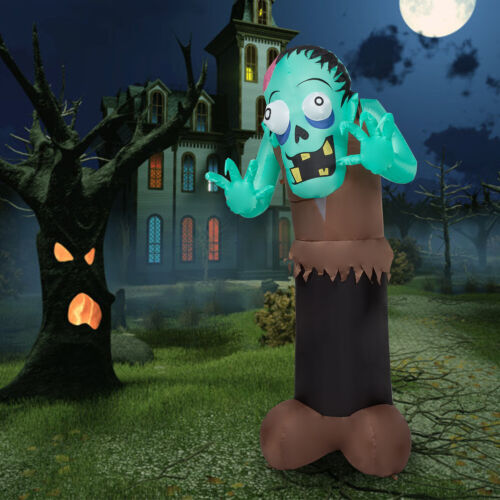6 Ft Halloween Inflatable Ghost Zombie Air Blown LED Light Yard In/Outdoor Decor