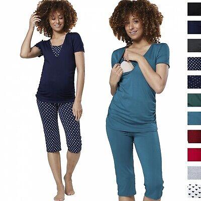 Happy Mama Women's Maternity Nursing Pyjamas Sleepwear Set Top Capri Pants 1014 Capri Nursing Pants
