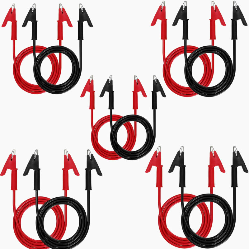 2/6/10pcs Double-end Alligator Clips Electrical Test Leads Set 15A Jumper Wires