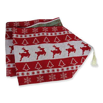 Extra Long Christmas Dining Table Runner in Red Modern Reindeer 13.5