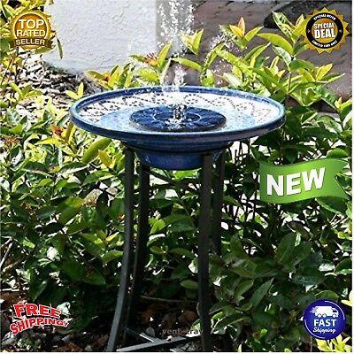 NEW Cute Solar Powered Bird bath Fountain Pump Standing Garden 1.4W Solar Panel