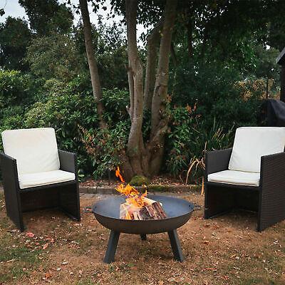 Large Garden Fire Pit Outdoor Patio Camping Cast Iron Bowl Log Heater Burner UK