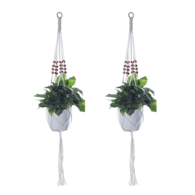 Hanging Planter Indoor Outdoor Pots Holder with Bead Home Wall Decoration Cotton
