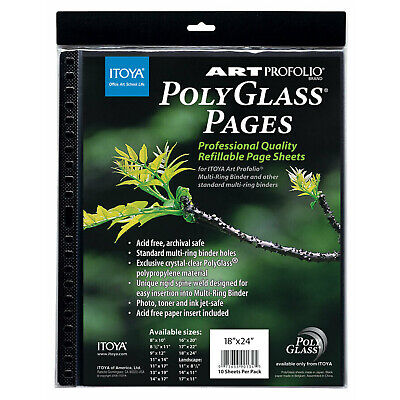 Itoya PolyGlass 10-Pack Multi-Ring Binder Refill Pages - Portrait, 18 x 24